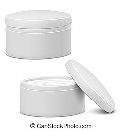 Cream Jar - Realistic White Cosmetic Cream Container. Vector...