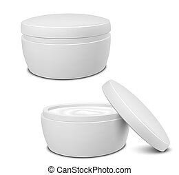 Cream Container - Realistic White Cosmetic Cream Container....