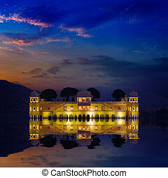 India landmark - Jal Mahal Lake Palace Jaipur, Rajasthan