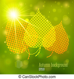 Autumn background with lights and yellow leaves Vector...