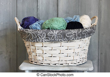 Wool - Photo of white basket with balls of wool
