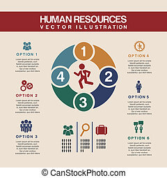 human resources over pink background vector illustration