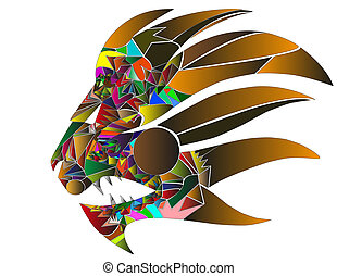 lioneps - lion head which is made with abstract colors