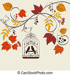Fall background - Vector autumn background design with bird...