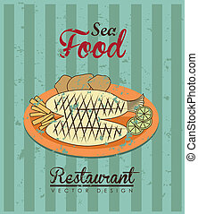 sea food design over lineal background vector illustration