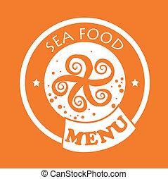 sea food design over orange background vector illustration