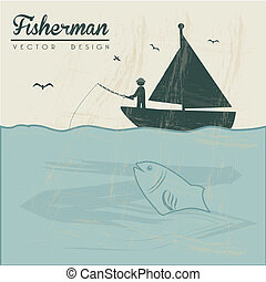 fisherman design over landscape background vector...