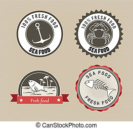sea food design over beige background vector illustration