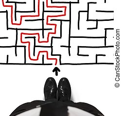 Businessman and maze - Concept of difficulty with...