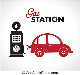 gas station over white background vector illustration