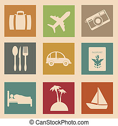 vacations icons over pink background vector illustration