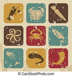 sea food over vintage background vector illustration