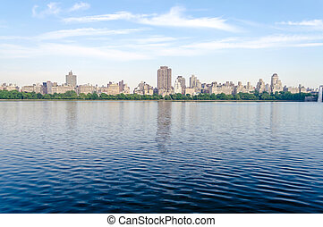 Reservoir in Central Park, New York - Looking at the Upper...
