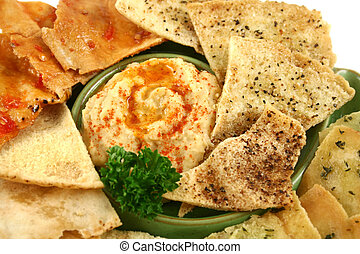 Pita Crisps And Hommus - Colorful and textured baked pita...
