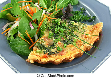 Quiche And Salad - Spinach and bacon quiche with a fresh...