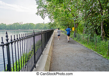 Jogging in Central Park, New York