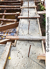 concrete foundation of house - wooden formwork concrete...
