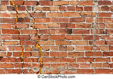 Gritty Brick Wall - A damaged old brick wall with major...