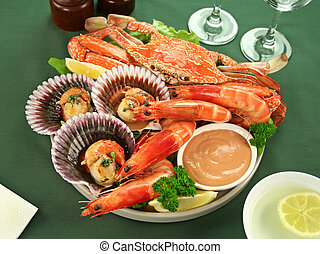 Seafood Platter - Fresh seafood platter of cooked shrimps,...
