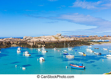 France, Granite Coast - Panoramic view over Pink Granite...