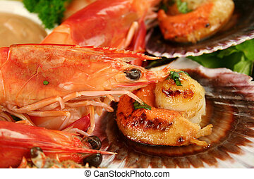 Pan Fried Scallops And Shrimps