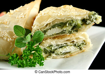 Spinach And Feta Triangles - Spinach and feta cheese...