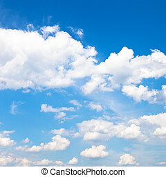 white clouds in blue sky in summer day - many white clouds...