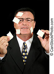 Post-It Note Salesman 1 - Busy salesman confused with his...