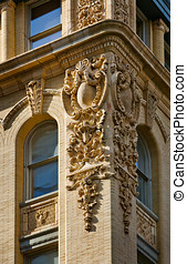 Architectural detail of a Soho building facade, New York...
