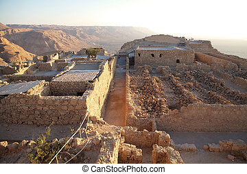 Masada Israel - The Northern Palace ruins at the Masada...