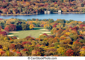 Fall colors Central Park, New York - Aerial view of the...