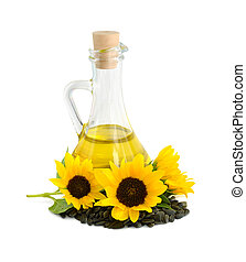 Decorative sunflowers with oil in glass jug Isolated on a...