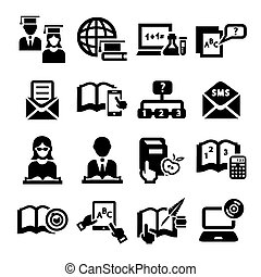 education vector icons - Elegant Vector Education And School...