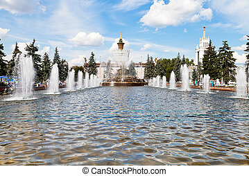 fountain Stone Flower at VVC in Moscow - MOSCOW, RUSSIA -...