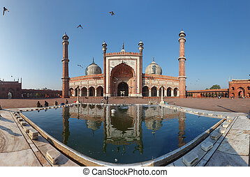 Indian landmark - Jama Masjid mosque in Delhi. Panorama -...