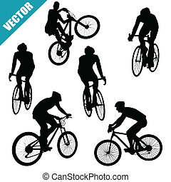 Various cycling poses of cyclists silhouettes on white...