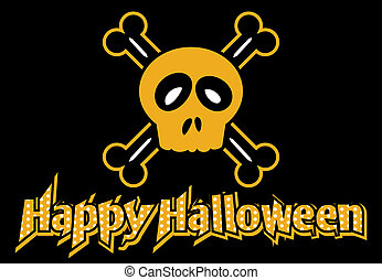 Happy Halloween skull and crossbone - Happy Halloween dotted...