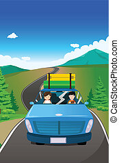 Couple riding a car going on a road trip - A vector...