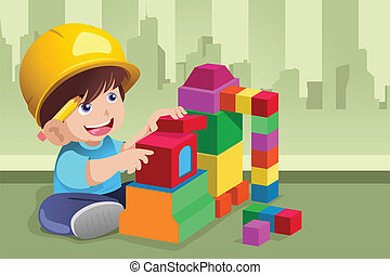Kid playing with his toys - A vector illustration of active...