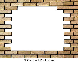 Brick wall in the frame - Brick wall horizontally in the...