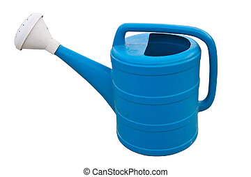 blue color gardening watering pot
