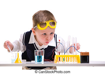 Crazy scientist - Crazy scientist. Young boy performing...