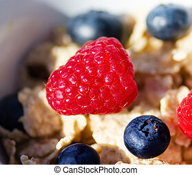 Healthy breakfast with cereals and berries
