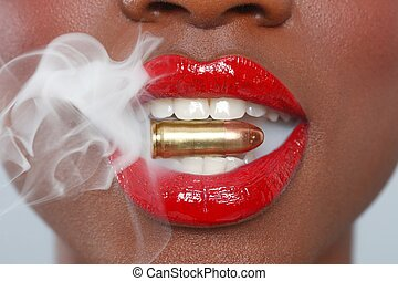 Lips of a Woman With A Bullet and Smoke - Beautiful Lips of...