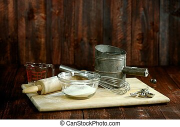Bread Baking Ingredients on a Wooden Background - Baking...