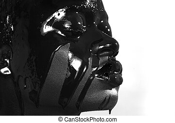 Beauty Concept of African Amercian Woman With Paint Dripping...