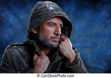 hombre, congelación, frío, tiempo