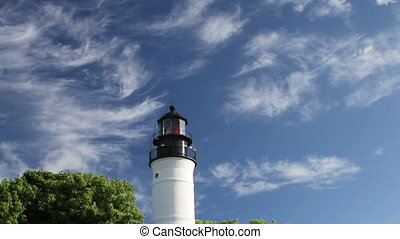 Key West Florida Lighthouse on Blue Sky