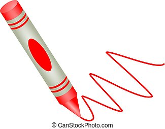 red crayon - Childs red drawing crayon isolated on white.
