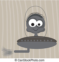 happy ufo - a grey happy extraterrestrial boy in his ufo
